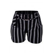 Shorts OutletDri Curto Elastano Estampado Listrado Cinto Preto com Branco