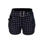 Shorts OutletDri Curto Elastano Estampado Xadrez Cinto Preto com Branco