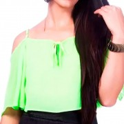 Top Cropped Babado Detalhe Fenda Frontal Verde Neon