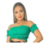 Top Cropped Sanfonado Ciganinha Ombro A Ombro Promoção
