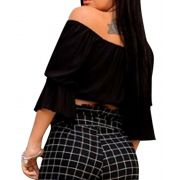 Top Cropped Viscose Cigana Detalhe Decote V Manga Flare Preto