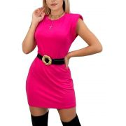 Vestido Blusão Muscle Ombreira Viscolycra Malha Manga Curta Pink