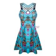 Vestido Estampado Curto Alça Grossa Floral Tirinhas Cruzadas Azul