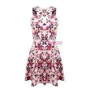 Vestido Estampado Curto Alça Grossa Floral Tirinhas Cruzadas Rosa