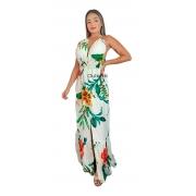 Vestido Longo Alcinha Dupla Decotado Fenda Frontal Tropical Estampado