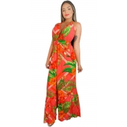 Vestido Longo Alcinha Dupla Decotado Fenda Frontal Tropical Estampado