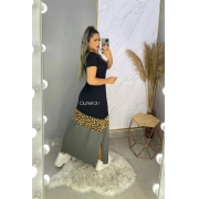 Vestido Longo Manga Curta Com Fenda Lateral Animal Print