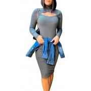 Vestido Midi Feminino Manga Longa Canelado Tubinho Gola Alta