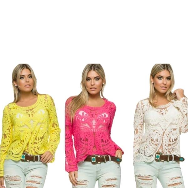 Bata Blusa Camisa De Renda Guipir Crochê Importada