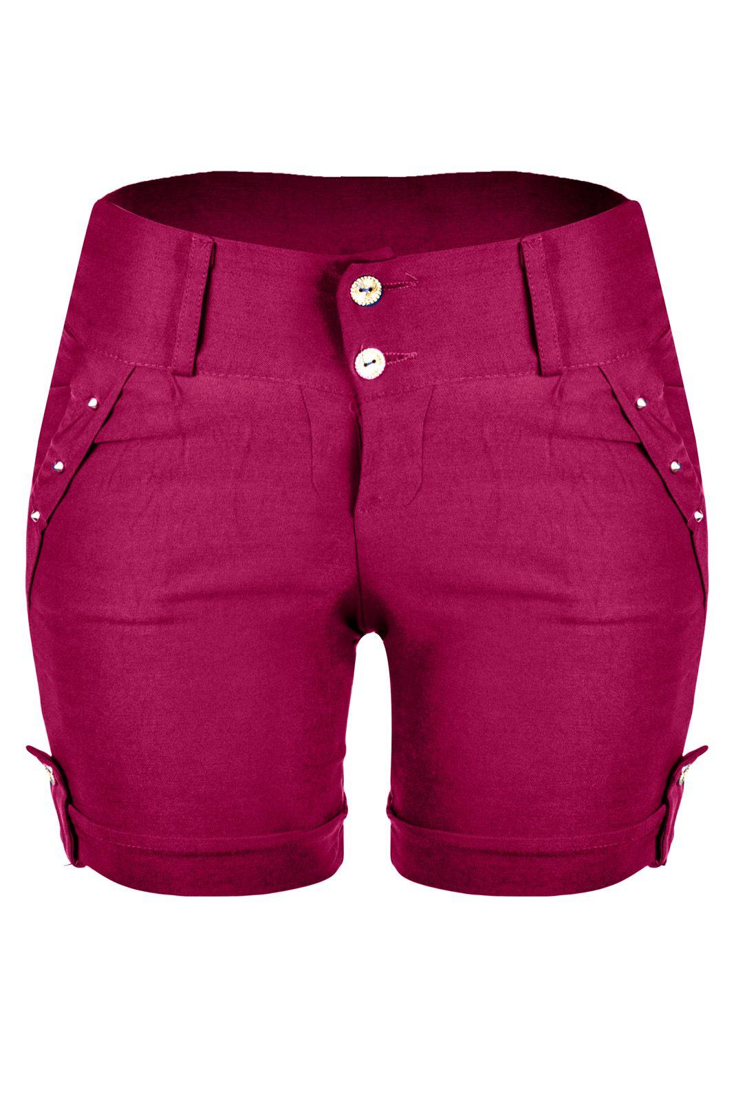Bermuda Outlet Dri Casual 2 Botões Frontais Spike Bolso Rosa Pink