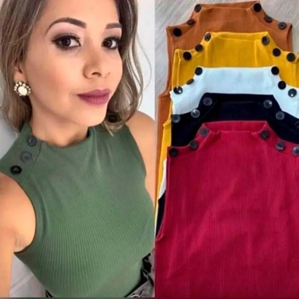 Blusa Blusinha Feminina Regata Gola Golinha Canelada Botão Verde militar