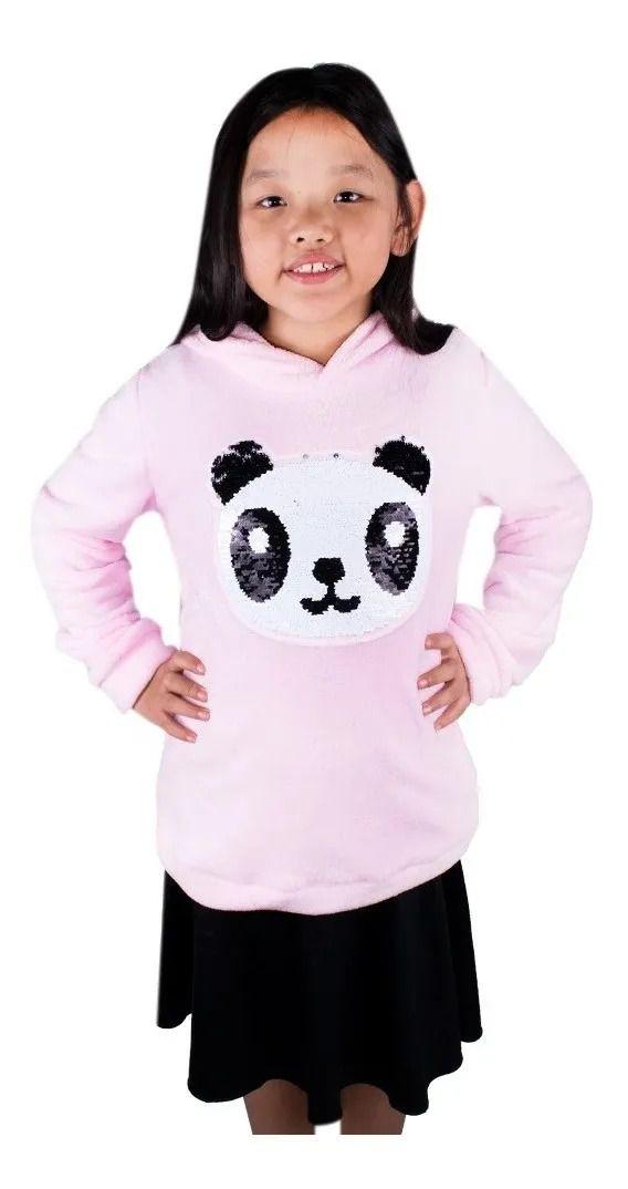 Blusa De Frio Menina Infantil Pelinho Plush Panda Linda Branco