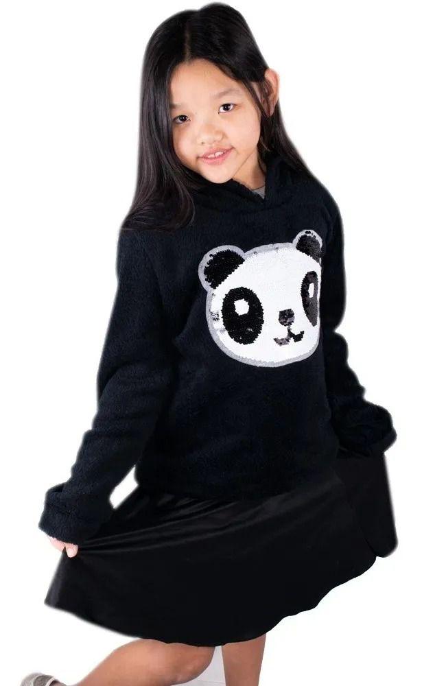 Blusa De Frio Menina Infantil Pelinho Plush Panda Linda Preto