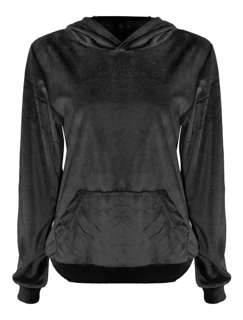 Blusa De Frio Moletom Feminino Longo Em Veludo Com Capuz Preto