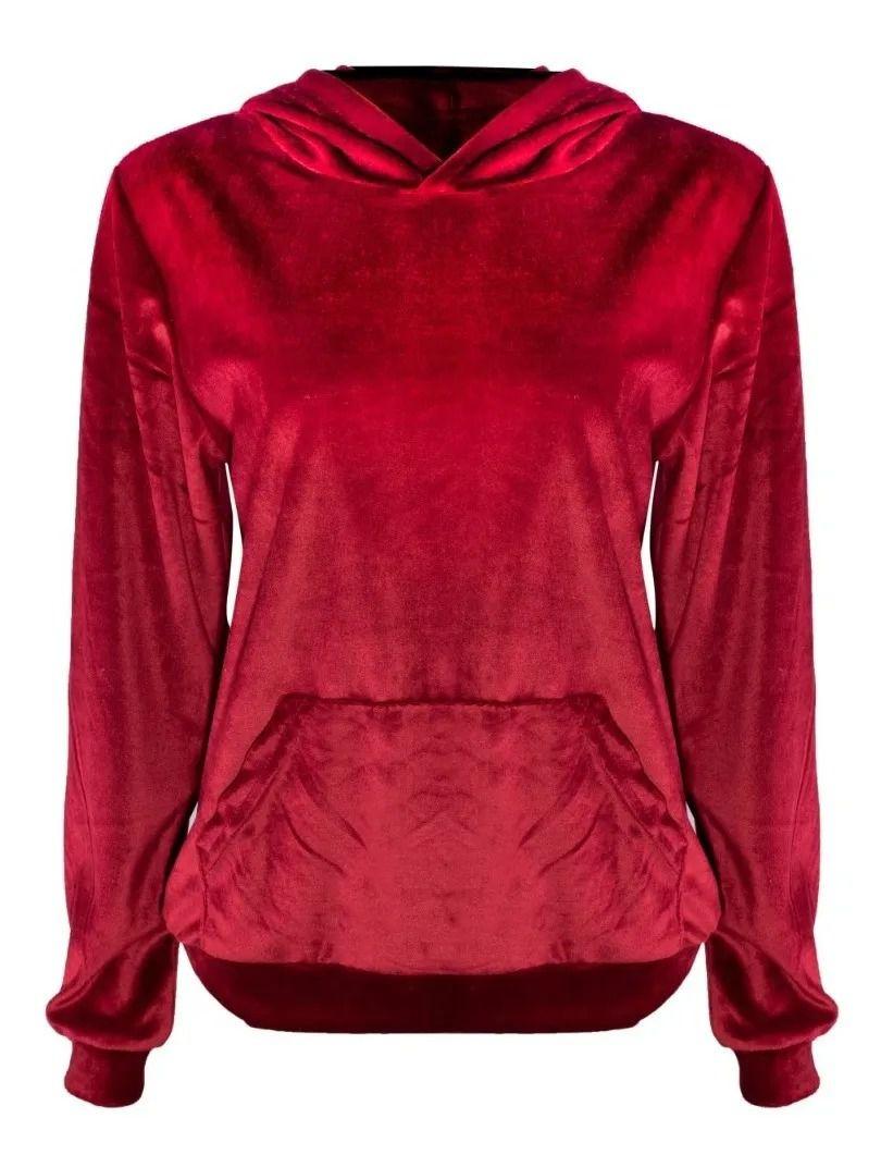 Blusa De Frio Moletom Feminino Longo Em Veludo Com Capuz Vermelho