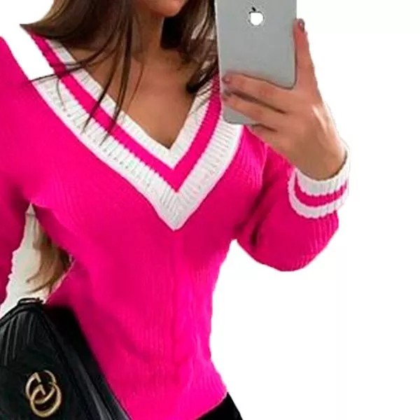 Blusa Feminina 3d Tricot Detalhe Decote V 3d Bicolor Inverno
