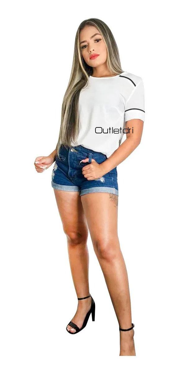 Blusa Plus Size Feminina Em Viscose Com Linhas Contrastantes Promoção