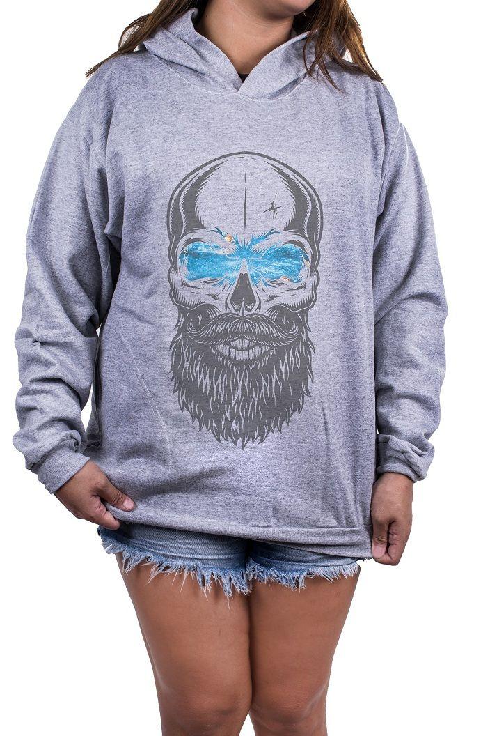 Blusa Feminina Moletom Estampada Estampa Beard Skull