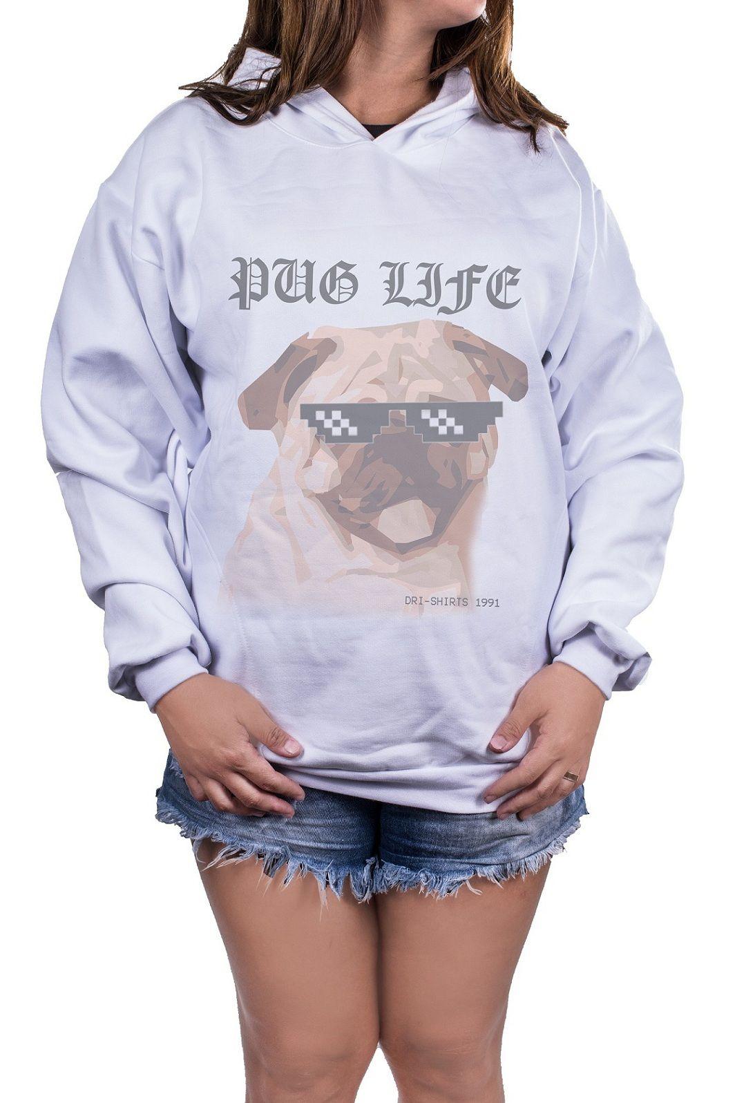 Blusa Feminina Moletom Estampada Estampa Pug Life