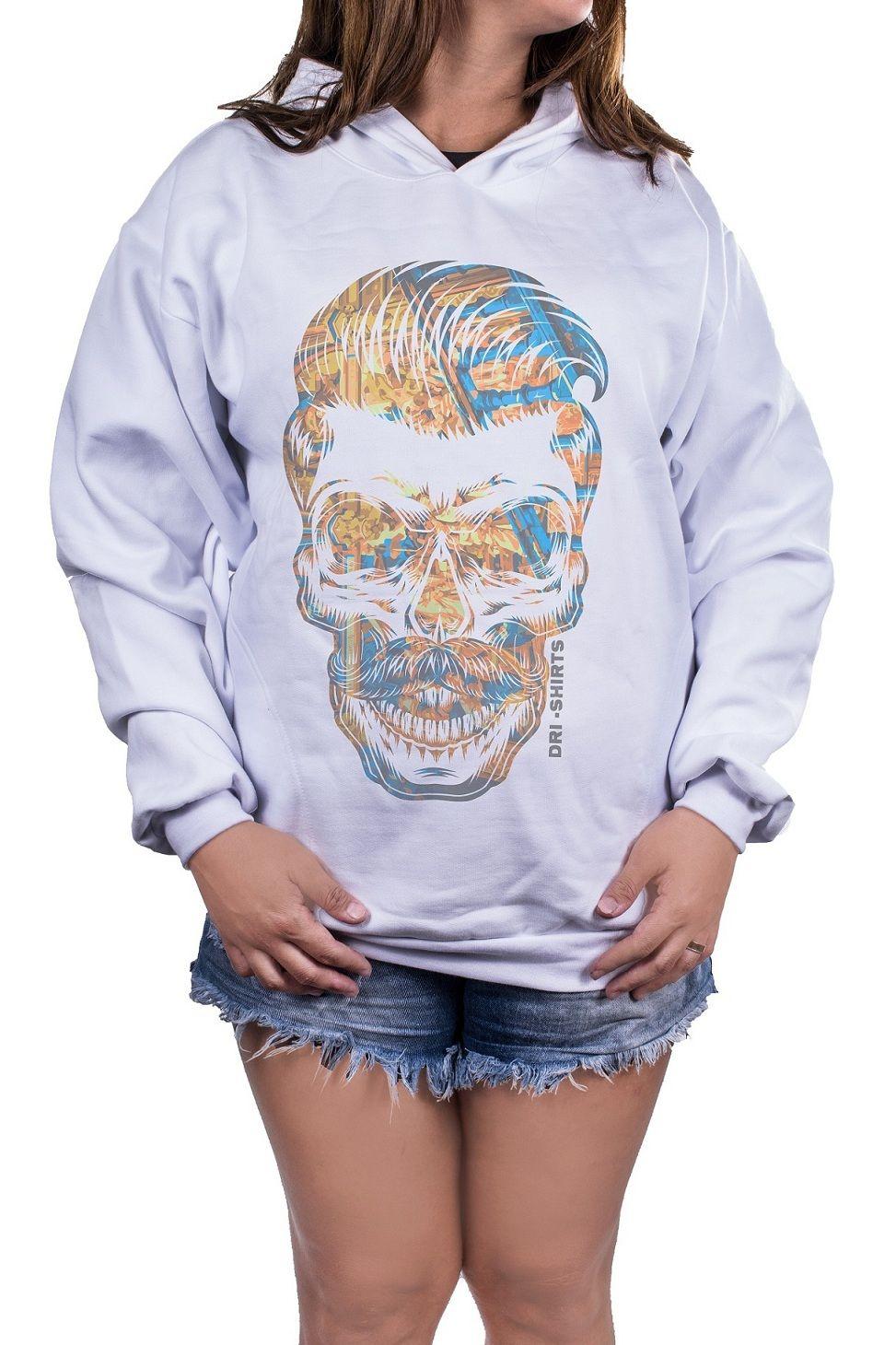 Blusa Feminina Moletom Estampada Estampa Tuft Skull