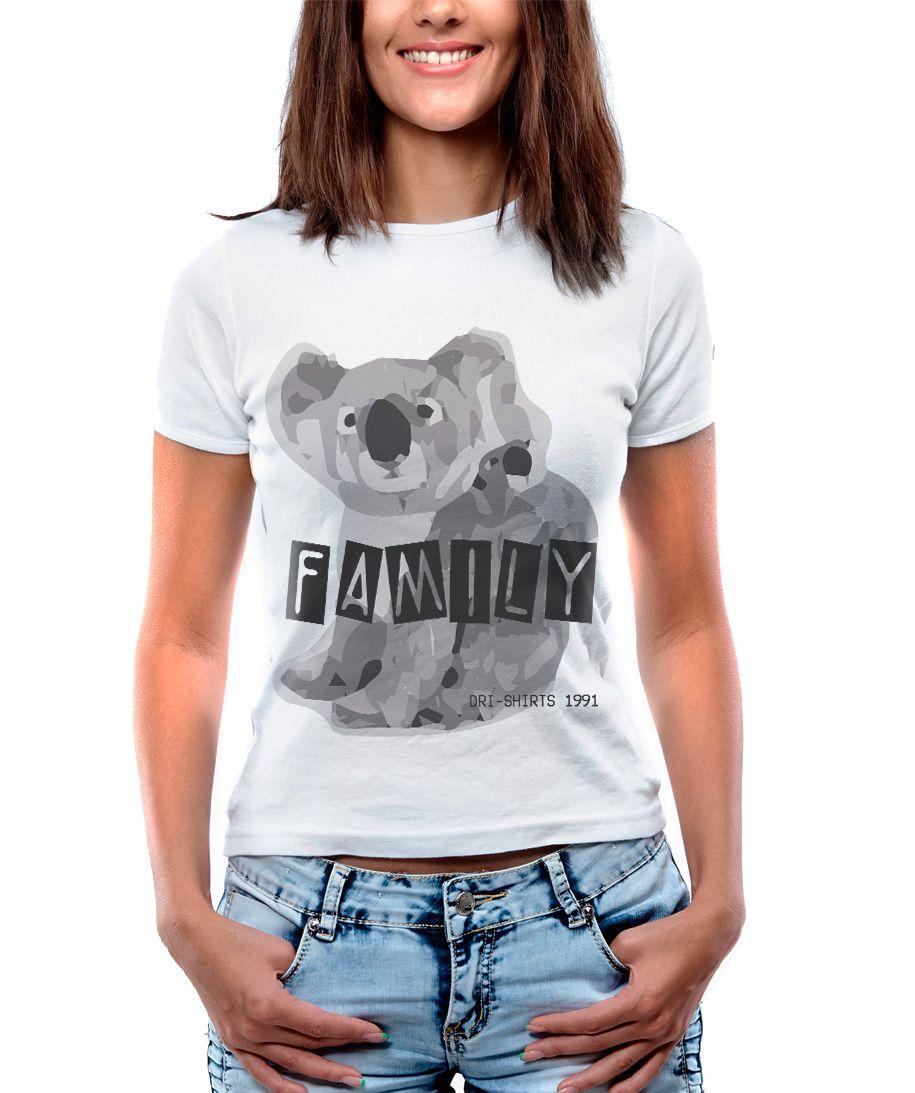 Blusa Feminina T-Shirt Estampada Manga Curta Estampa de um Lindo Coala.