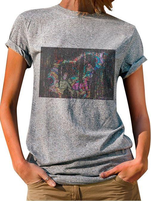 Blusa Feminina T-Shirt  Manga Curta Estampa Mosaico Horse.