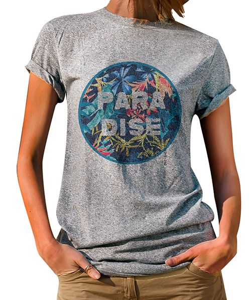 Blusa Feminina T-Shirt  Manga Curta Estampa Paradise.