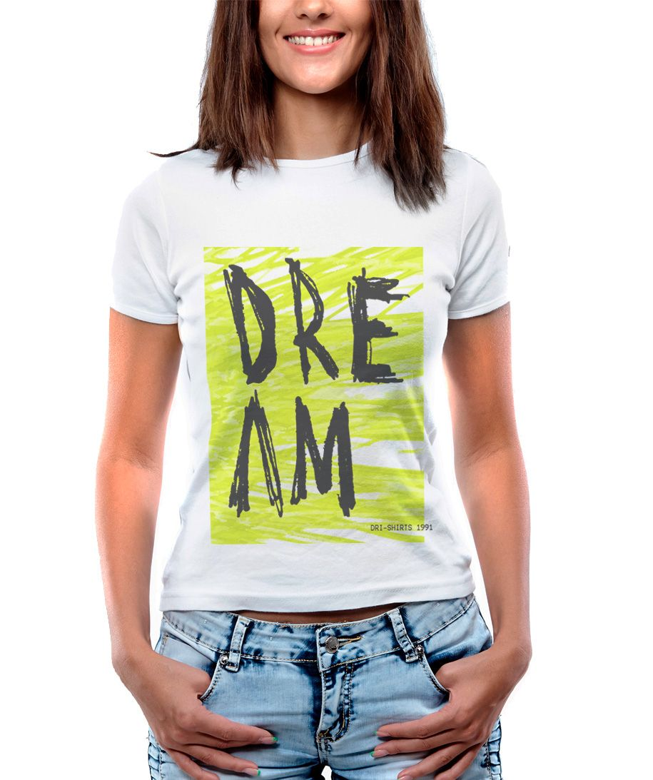 Blusa Feminina T-Shirt  Manga Curta Estampa Rabiscos Dream.