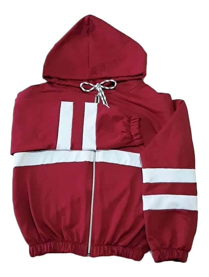 Blusa Jaqueta Moletom Detalhe Capuz Com Zíper Detalhe Branco vermelho