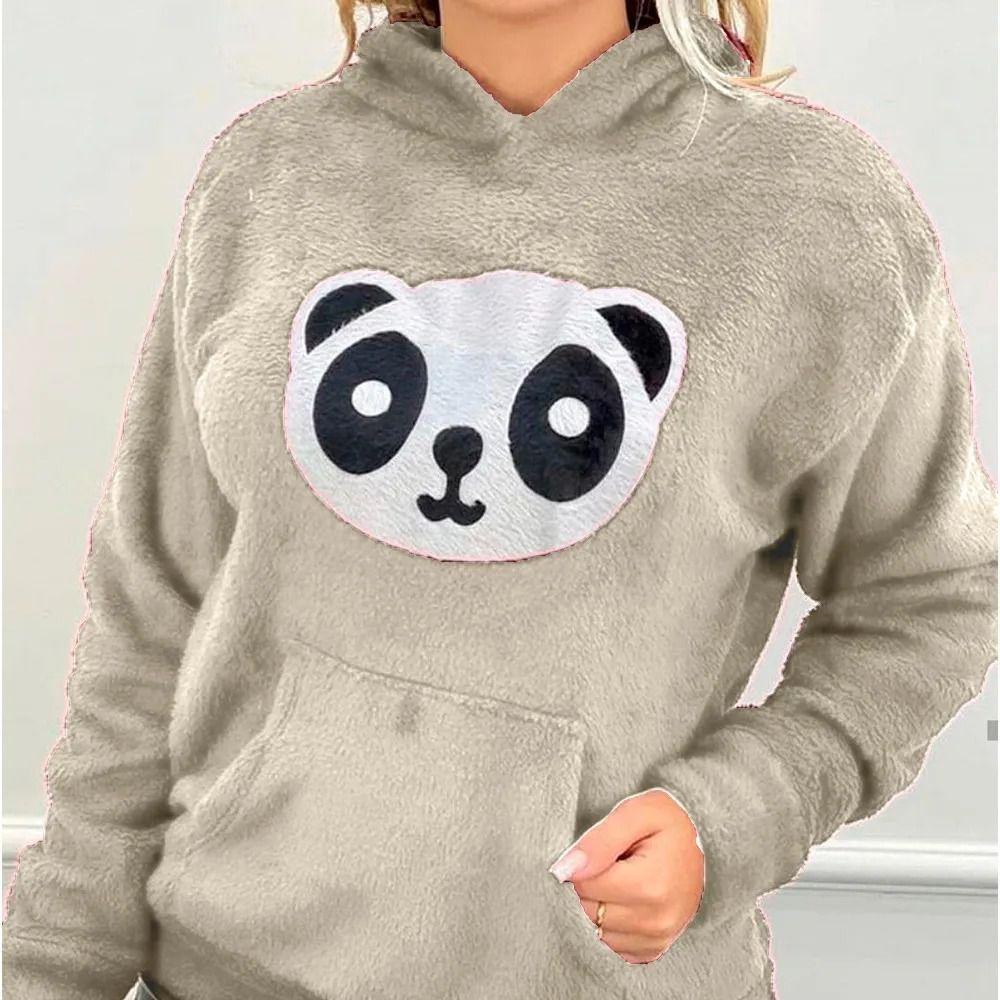 Blusa Moletom Plush Agasalho Panda Pelinho Manga Longa Capuz Bege
