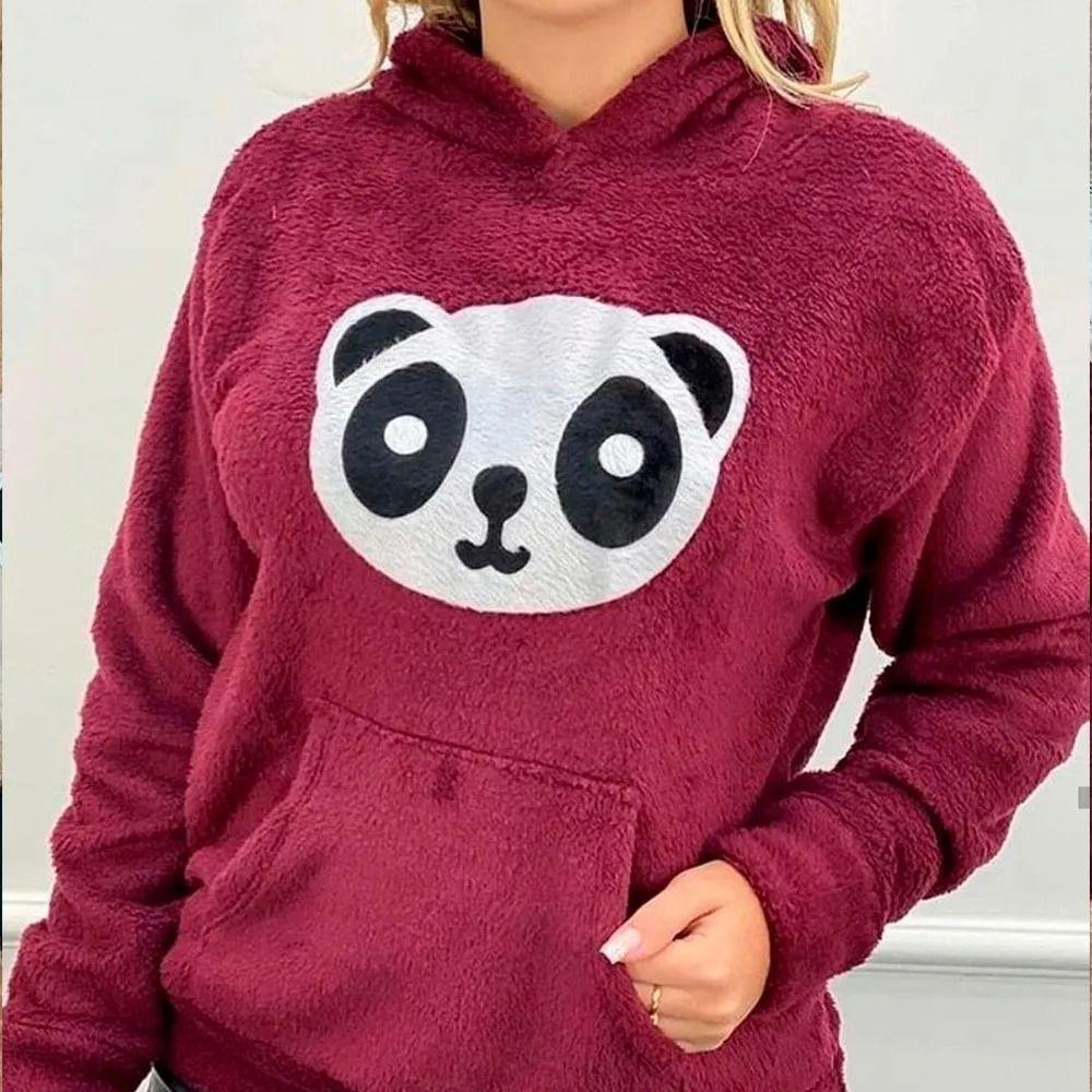 Blusa Moletom Plush Agasalho Panda Pelinho Manga Longa Capuz Bordô