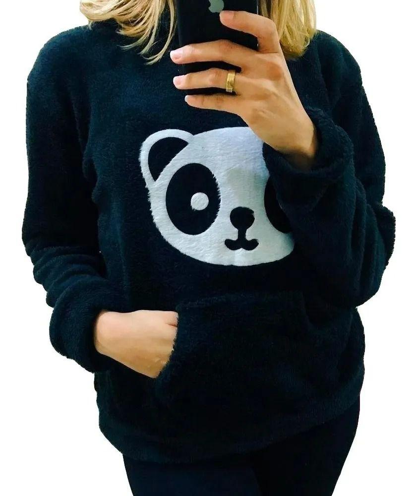 Blusa Moletom Plush Agasalho Panda Pelinho Manga Longa Capuz Preto