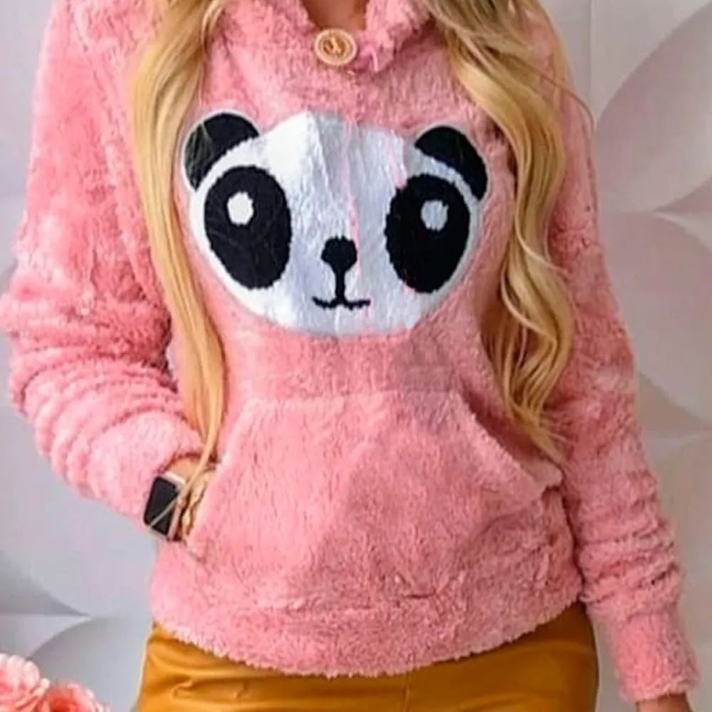 Blusa Moletom Plush Agasalho Panda Pelinho Manga Longa Capuz Rosa