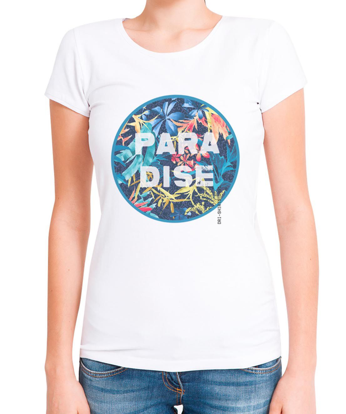 Blusa Outlet Dri T-Shirt Estampada Paradise Branca