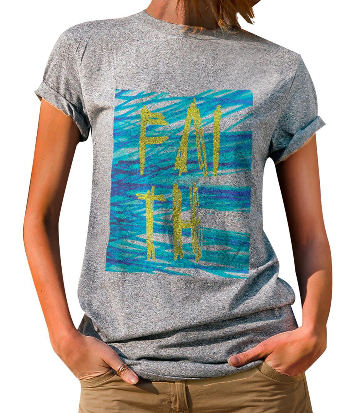 Blusa Outlet Dri T-Shirt Estampada Rabiscos Faith Cinza