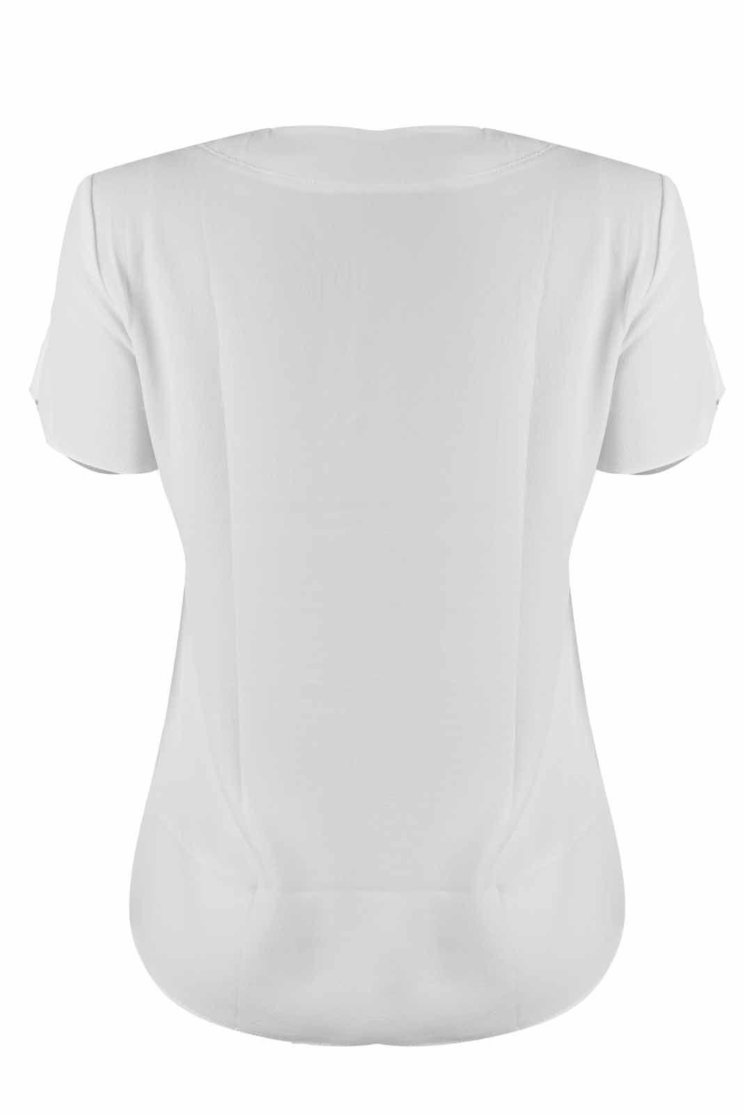 Blusa OutletDri Crepe Gola Padre Manga Curta Detalhe 5 Botões Frontais Branco