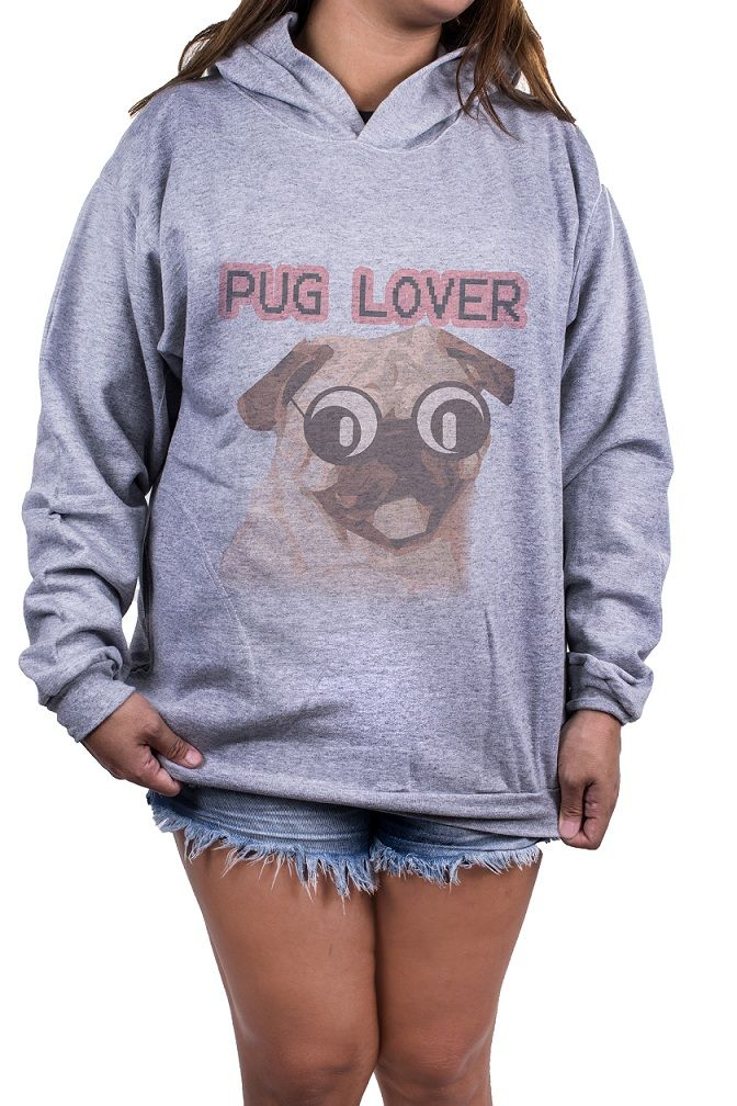 Blusa OutletDri Feminina Moletom Estampada Estampa Pug Love