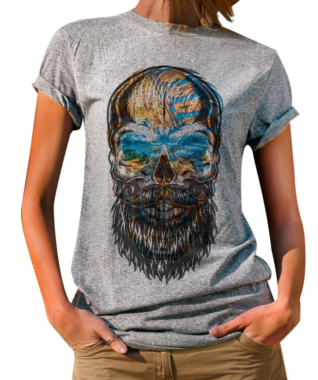Blusa OutletDri T-Shirt Estampada Beard Colored Skull Cinza