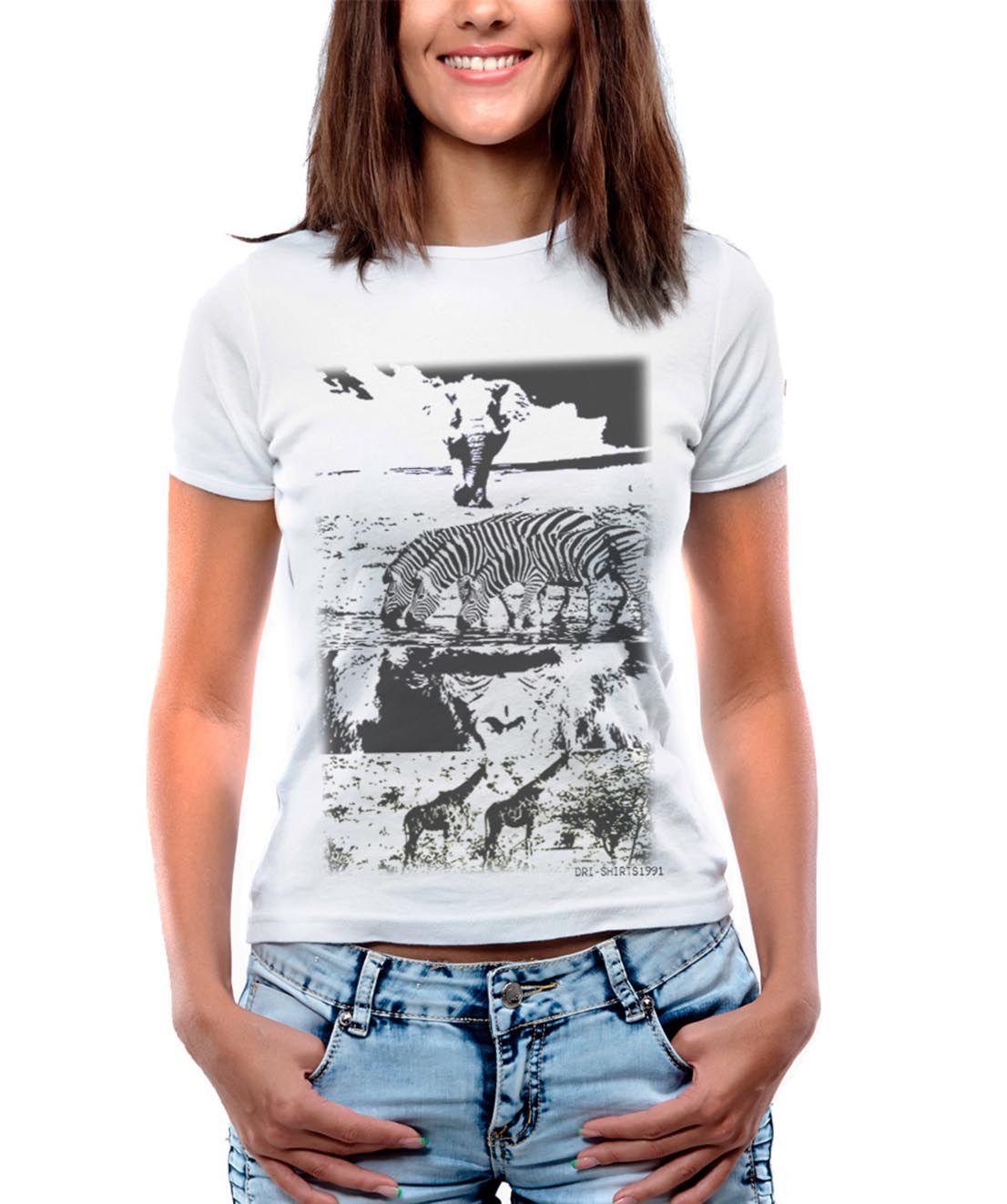 Blusa OutletDri T-Shirt Estampada Elefante Zebra Gorila e Girafas Branca