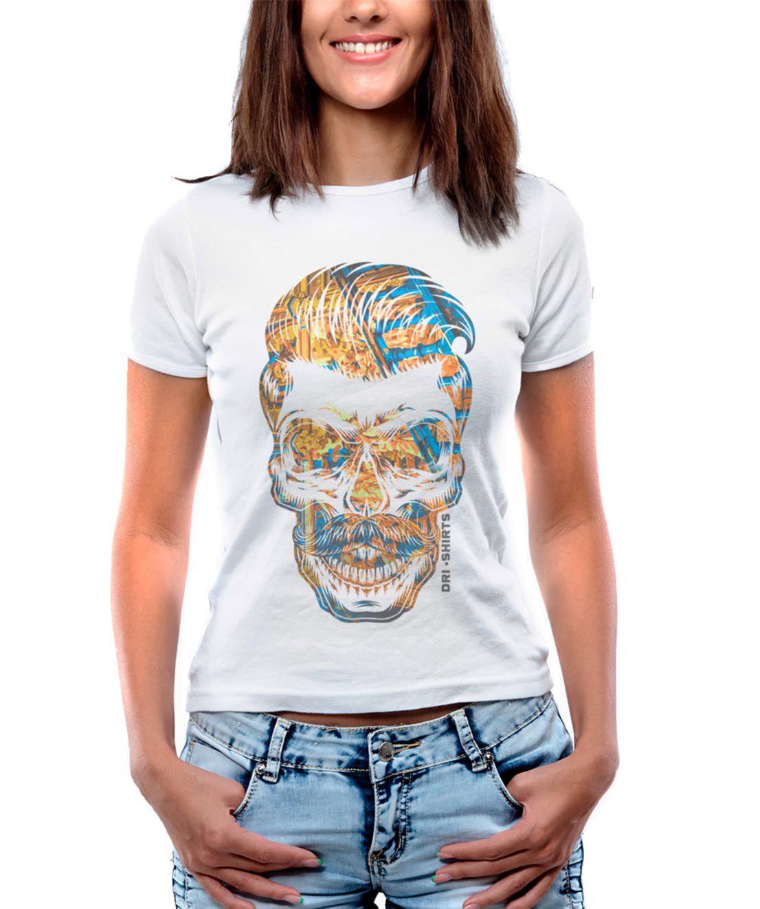 Blusa OutletDri T-Shirt Estampada Tuft Skull Branco