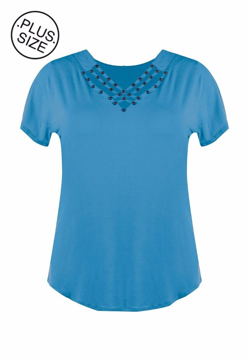 Blusa Plus Size Trançado Frente Viscolycra Bordado Perolado