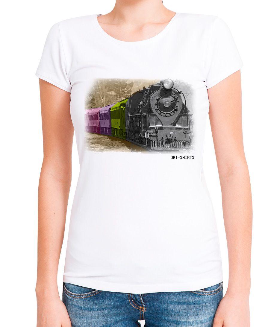 Blusa T-shirt Estampa Trem Com Paisagem Colorida 3d
