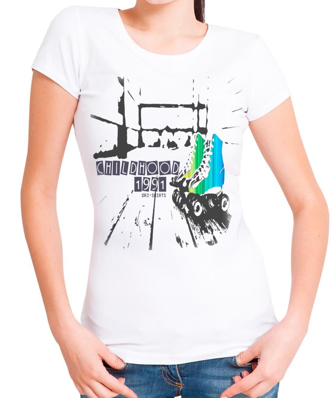 Blusa T-Shirt OutletDri Estampa ChildHooD Roller Branca