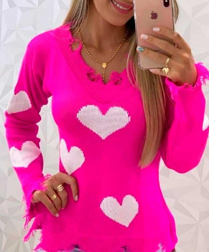 Blusa Tricot Lã Manga Longa Detalhe Estampa Coração Pink