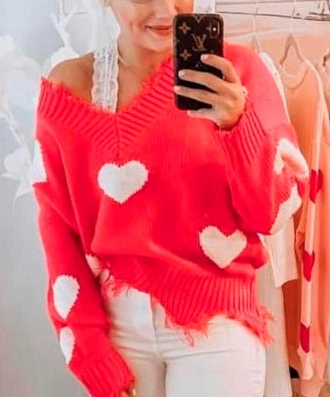 Blusa Tricot Lã Manga Longa Detalhe Estampa Coração Vermelha