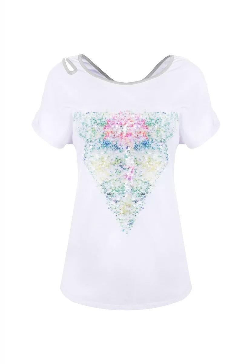 Blusa Tshirt Importada Aplicação Paetê Detalhe Transpassado Branco Com Detalhe Cinza
