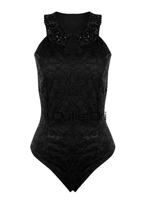 Body Feminino Rendado Renda Guippir Detalhe Pedraria Decote