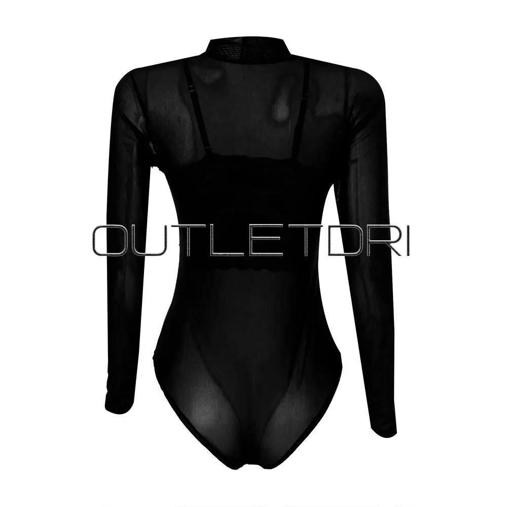 Body Feminino Tule Detalhe Decote Renda Guippir Transparente