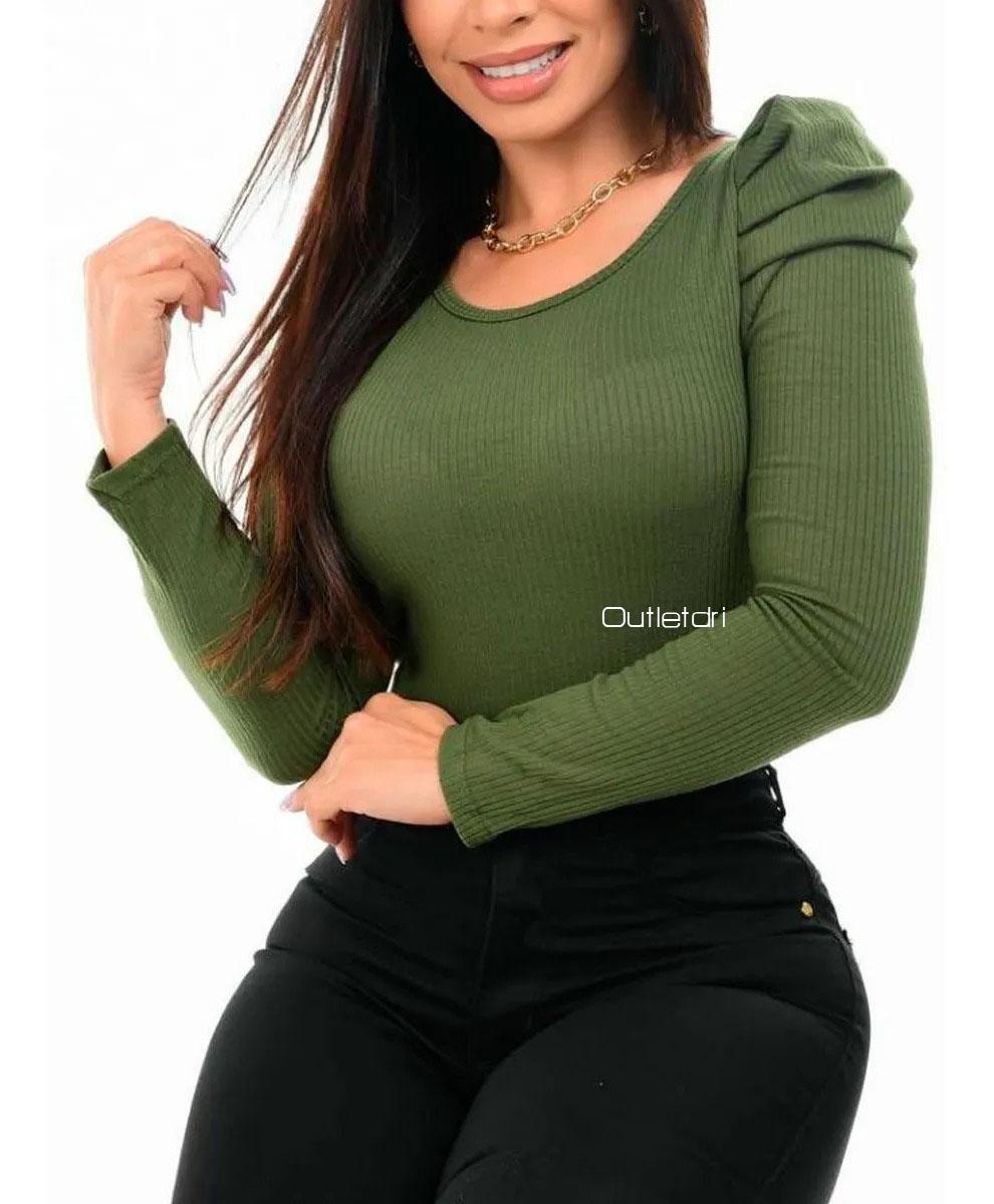 Body Manga Longa Feminino Canelado Bufante