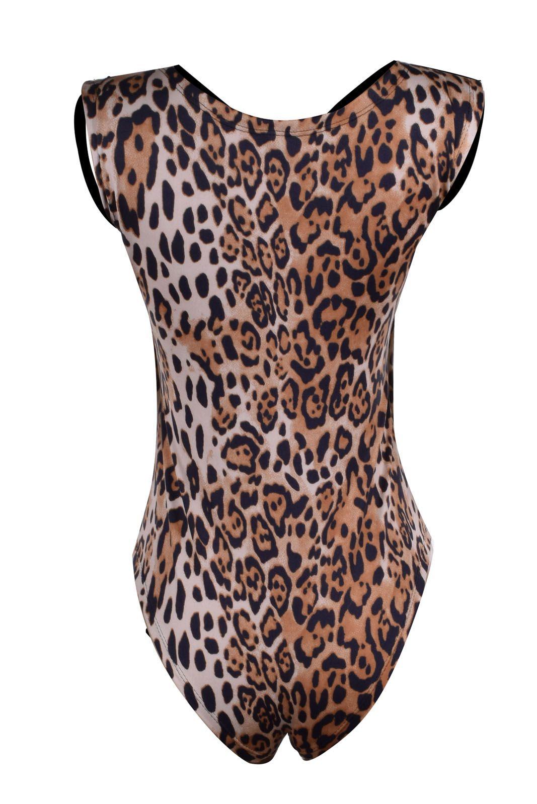 Body Outlet Dri Alça Grossa Suplex Tiras Teia Frontal Strass Animal Print Estampado Marrom